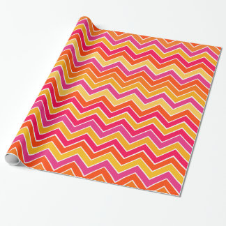 Chevron zigzag everyday pink yellow pattern wrapping paper