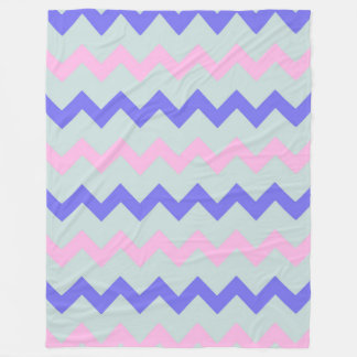 Chevron zigzag ice blue pink cobalt fleece blanket