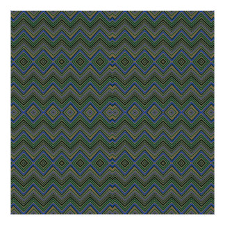 chevron zigzag pattern green posters