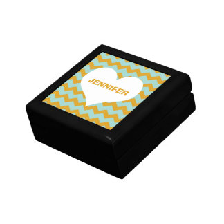 Chevron zigzag pattern heart custom name yellow gift box
