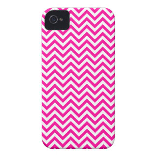 Chevron Zigzag Pattern Hot Pink and White iPhone 4 Case-Mate Cases