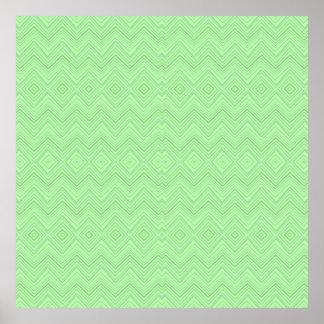 chevron zigzag pattern light green poster