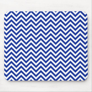Chevron Zigzag Pattern Royal Blue and White Mouse Pad