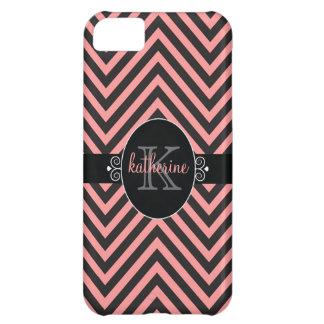 Chevron Zigzag Pattern with Monogram Pink   Black iPhone 5C Case