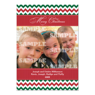 Chevrons and Stripes Christmas Greeting Card