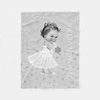 Chevrons Polka Dots Silver Gray Princess Monogram Fleece Blanket