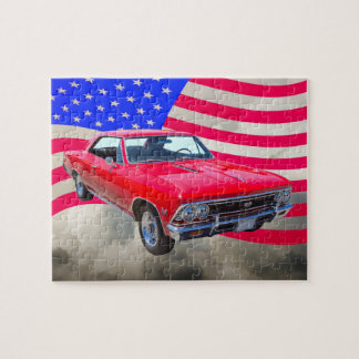 Chevy Chevelle SS 396 with American Flag Jigsaw Puzzle
