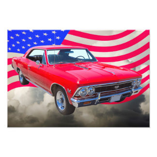 Chevy Chevelle SS 396 with American Flag Photographic Print