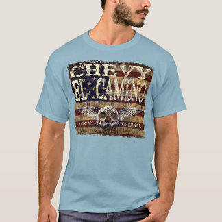 Chevy El Camino Design Against Eroded Flag T-Shirt