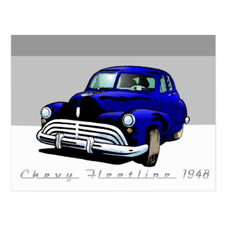 Chevy Fleetline 1948 Postcard