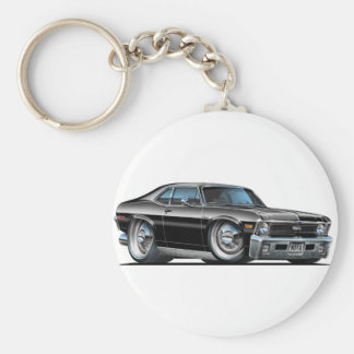 Chevy Nova Black Car Basic Round Button Key Ring