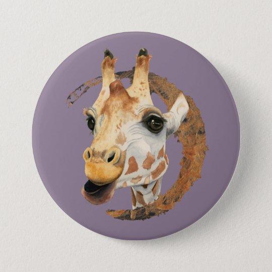 """""""Chew"""" 2 Giraffe Watercolor Painting 7.5 Cm Round Badge"""
