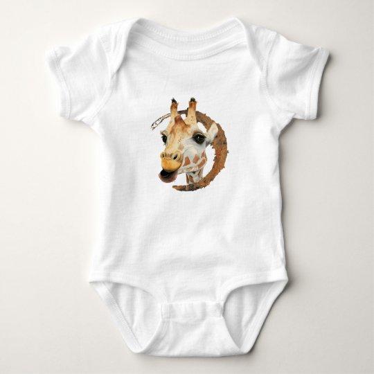 """Chew"" 2 Giraffe Watercolor Painting Baby Bodysuit"