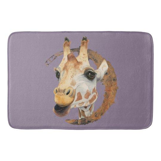 """Chew"" 2 Giraffe Watercolor Painting Bath Mat"
