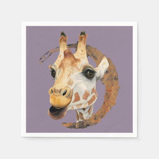 """Chew"" 2 Giraffe Watercolor Painting Disposable Napkin"