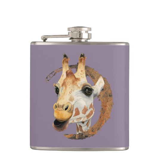 """Chew"" 2 Giraffe Watercolor Painting Hip Flask"