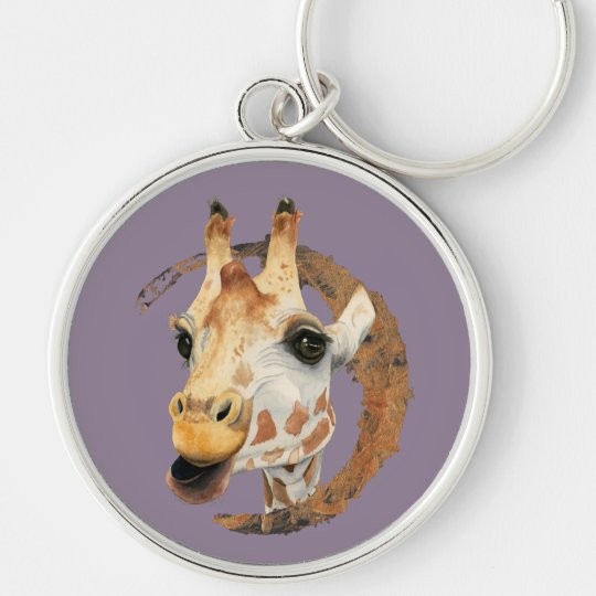 """Chew"" 2 Giraffe Watercolor Painting Key Ring"