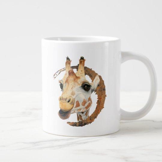 """Chew"" 2 Giraffe Watercolor Painting Large Coffee Mug"