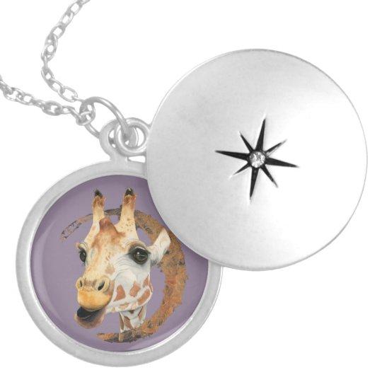 """Chew"" 2 Giraffe Watercolor Painting Locket Necklace"