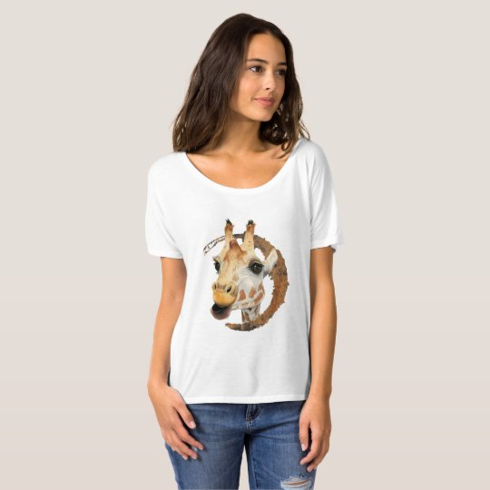 """Chew"" 2 Giraffe Watercolor Painting T-Shirt"