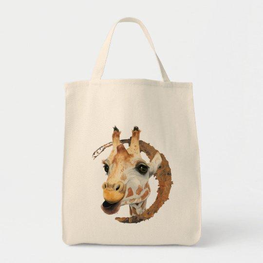"""""""Chew"""" 2 Giraffe Watercolor Painting Tote Bag"""