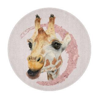 """""""Chew"""" 3 Giraffe Watercolor Painting Cutting Board"""