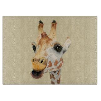 """""""Chew"""" Giraffe Watercolor Painting Cutting Board"""