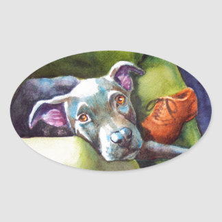 Chew Shoe, Terrier on the Couch Oval Sticker