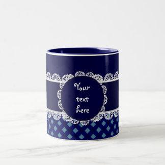 Chex Monogram Blue Two Toned Coffee Mug