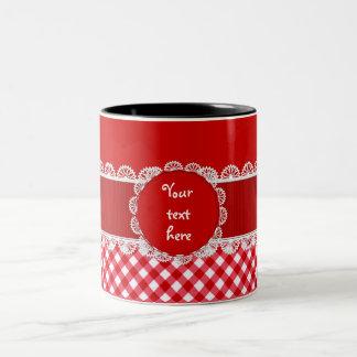 Chex Monogram Red Two Toned Coffee Mug