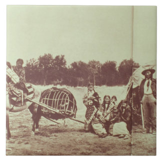 Cheyenne Indians on the Move, 1878 (b/w photo) Ceramic Tile