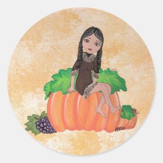 """""""Cheyenne"""" Thanksgiving Quantum Cutie Round Sticker"""