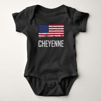 Cheyenne Wyoming Skyline American Flag Distressed Baby Bodysuit