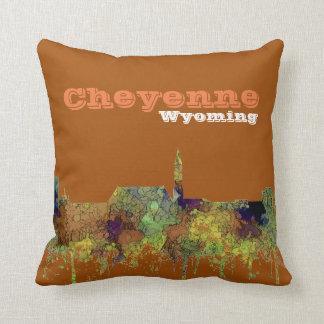Cheyenne Wyoming Skyline - Safari Buff Cushion