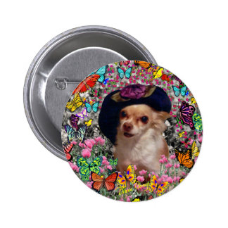 Chi Chi in Butterflies - Chihuahua Puppy in Hat Pinback Buttons