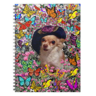 Chi Chi in Butterflies  - Chihuahua Puppy in Hat Spiral Note Book
