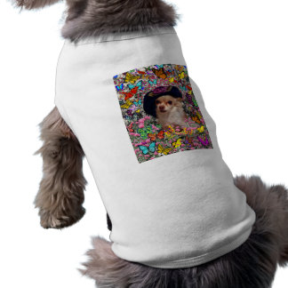 Chi Chi in Butterflies  - Chihuahua Puppy in Hat Sleeveless Dog Shirt