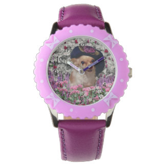 Chi Chi in Flowers, Chihuahua Puppy Dog, Cute Hat Wrist Watch