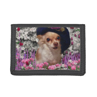 Chi Chi in Flowers, Chihuahua Puppy Dog, Cute Hat Tri-fold Wallet