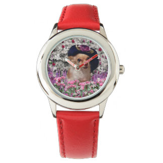 Chi Chi in Flowers, Chihuahua Puppy Dog, Cute Hat Wristwatches