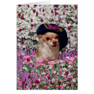 Chi Chi in Flowers  - Chihuahua Puppy in Cute Hat Greeting Card
