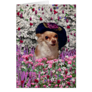 Chi Chi in Flowers  - Chihuahua Puppy in Cute Hat Stationery Note Card