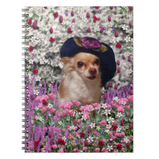 Chi Chi in Flowers  - Chihuahua Puppy in Cute Hat Note Book