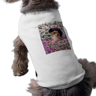 Chi Chi in Flowers  - Chihuahua Puppy in Cute Hat Sleeveless Dog Shirt