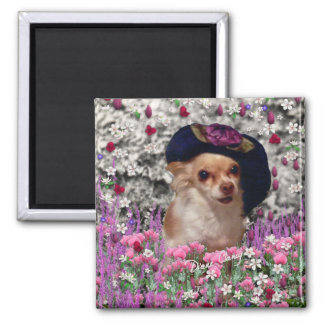Chi Chi in Flowers  - Chihuahua Puppy in Cute Hat Square Magnet
