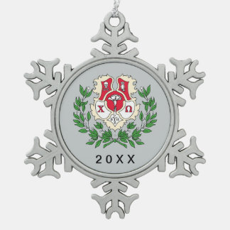 Chi Omega Crest Snowflake Pewter Christmas Ornament