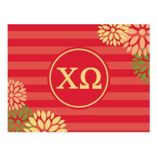 Chi Omega | Monogram Stripe Pattern Postcard
