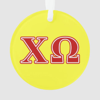 Chi Omega Red Letters Ornament