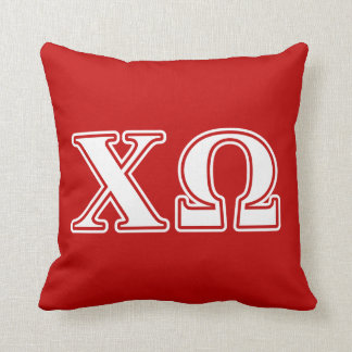 Chi Omega White and Red Letters Cushion
