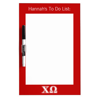 Chi Omega White and Red Letters Dry Erase Board